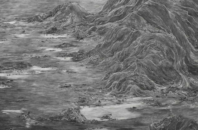 (detail) Mountain Lake with Retreating Water 2017 paper collage with UVA filter (matt)