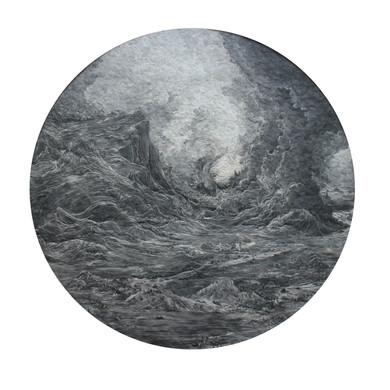 The Dense Black Cloud 2017 paper collage with UVA filter (matt) 57cm diameter