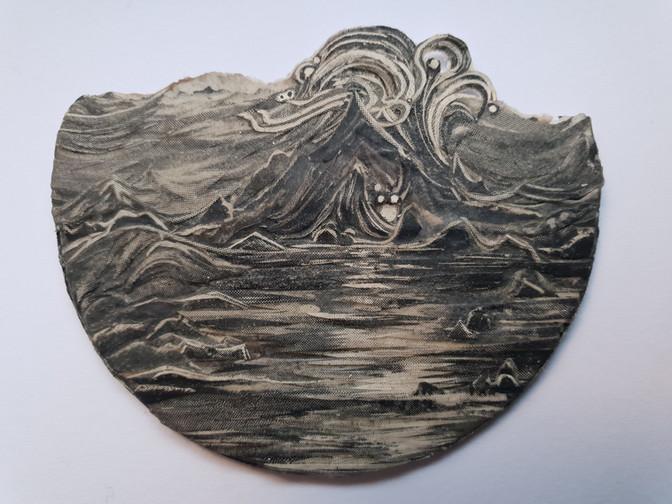 The Volcano at Night  2020 paper collage with UVA filter (matt) 5 x 6.5 cm