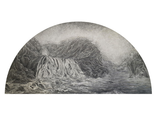 Mountain Waterfall After the Rain  2021 paper collage with UVA filter (matt) 62 x 107cm