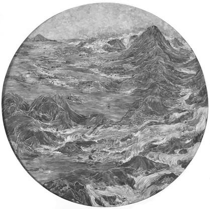 Returning Water 2016 paper collage with UVA filter (matt) 57cm diameter