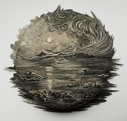 Coastal Scene in the Moonlight  2020 paper collage with UVA filter (matt) 7.5cm diameter