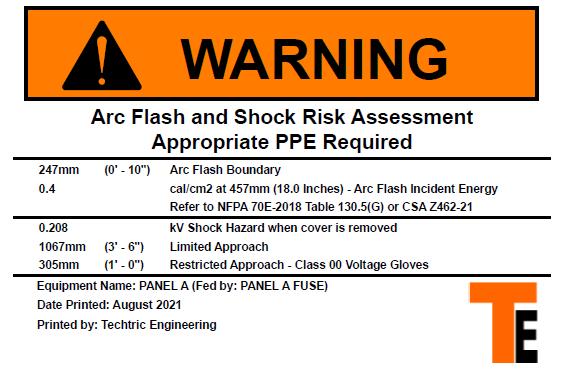 Techtric Arc Flash Label
