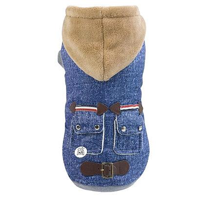 Abrigo Mezclilla con chicorro para perritos - color jeans