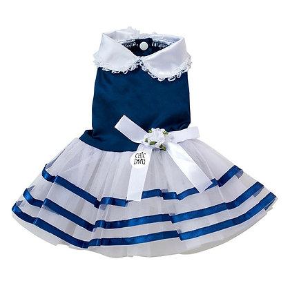 Vestido Satin Sailor para perrita - color azul
