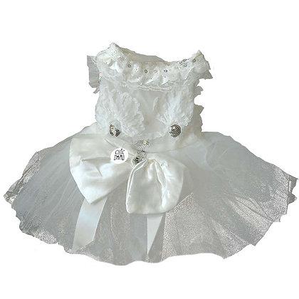 Vestido blanco para perrita - vista frontal - para novia