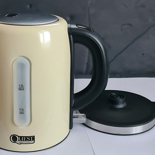 Quest 1L Low Wattage Cream Stainless Steel Kettle