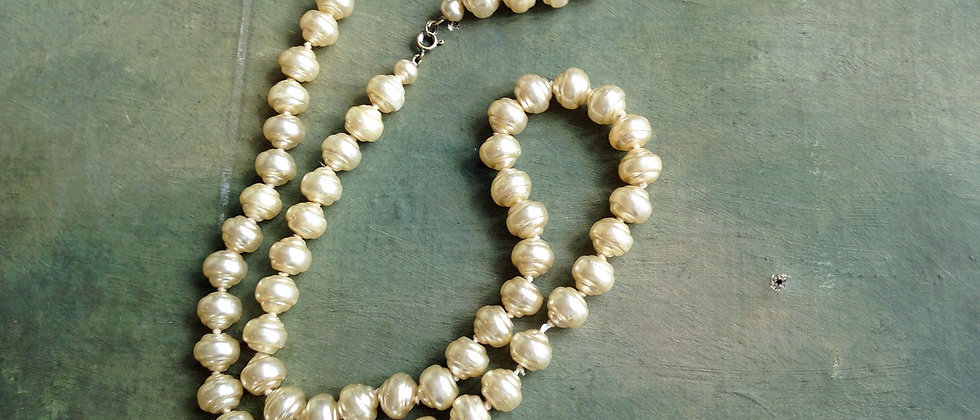 Vintage Large Baroque Pearl Long Necklace