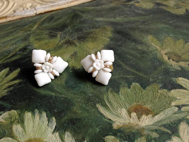 1950's White Milk Glass Triangular Earrings
