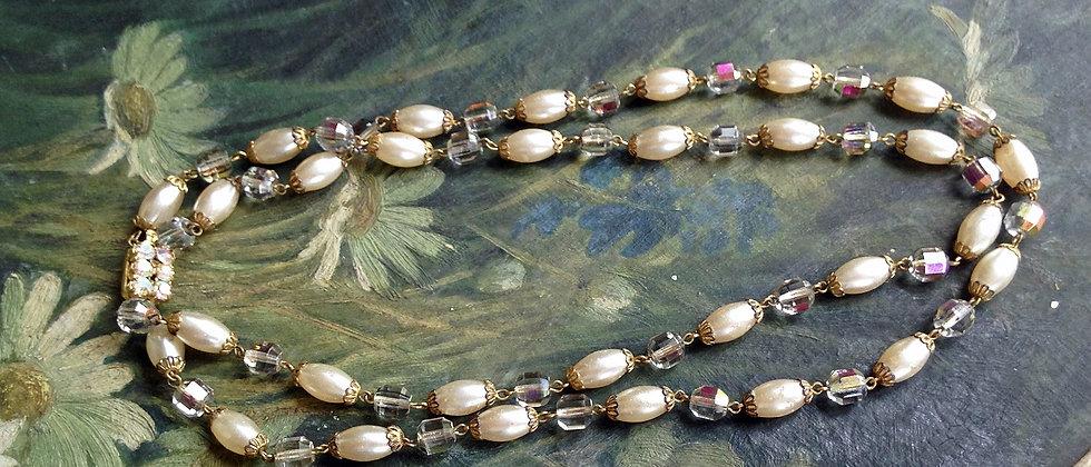 1960s Baroque Pearl & Crystal Filigree Necklace