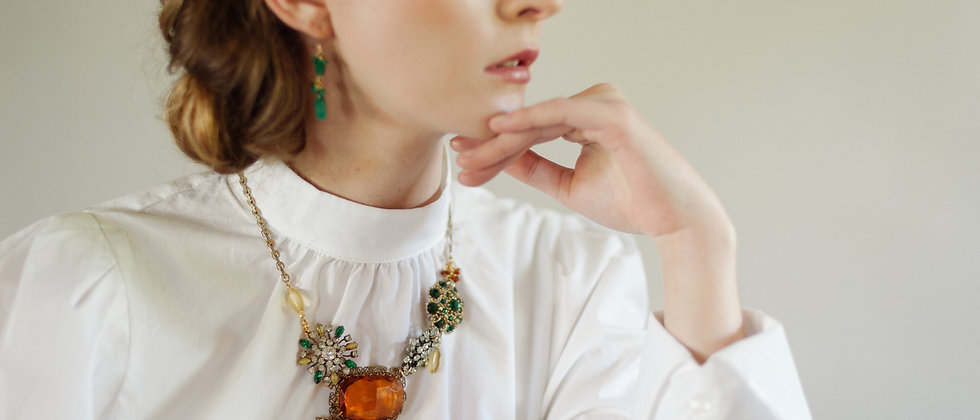 Gold, Green and Amber Retrospective Cluster Necklace