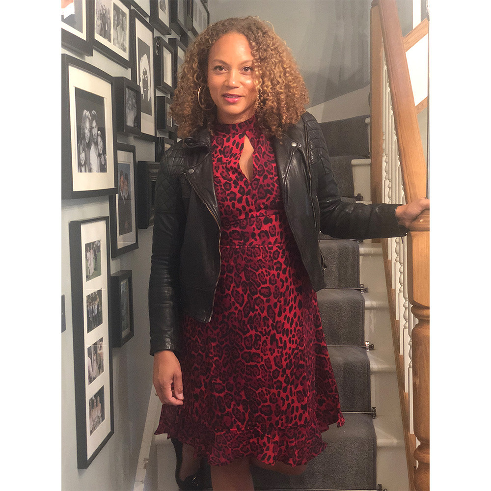 So Sander Red Leopard Print Dress - Angela Griffin