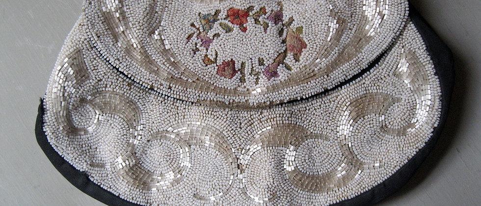 1920s-30s Vintage Beadwork Bag on Black Taffeta