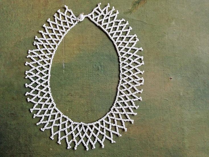 Vintage Milk Glass Collar Necklace