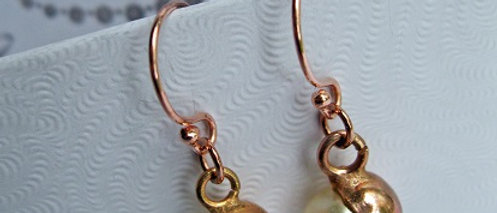 Rose Gold Bead & Pearl Drop Earrings