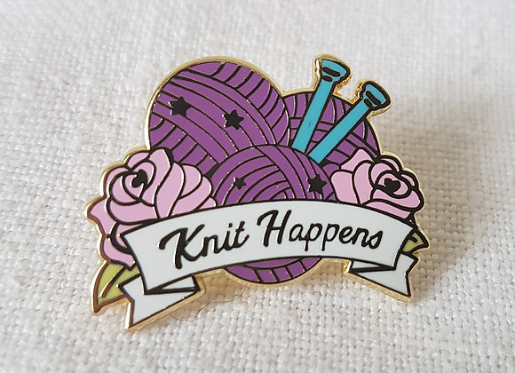 """Emaille- Pin """"Knit Happens"""""""