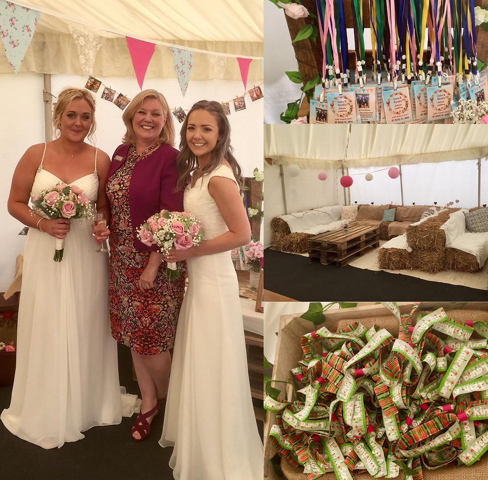 outside wedding next to lake with festival marquee