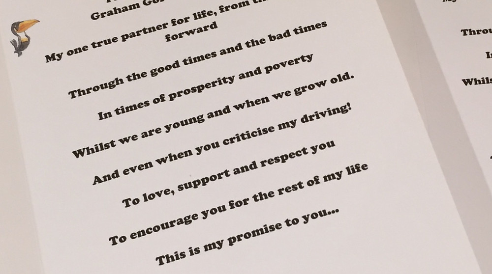 Personal Vows form Liverpool Celebrant Wedding