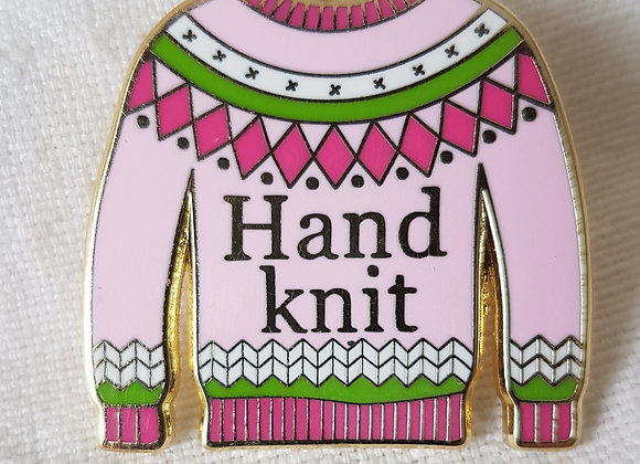 "Emaille- Pin ""Hand Knit"""