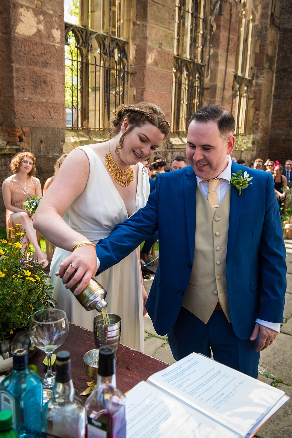 Liverpool Celebrant, Lorraine Hull, the pouring of the wedding unity cocktail