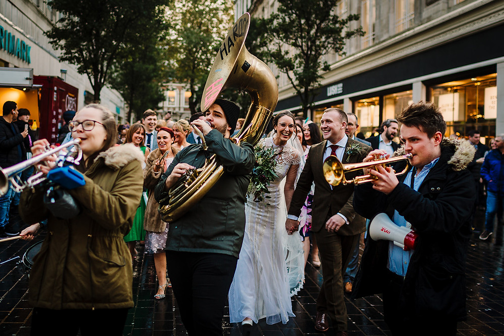Wedding Celebrant Lorraine Hull, Liverpool City Centre brass band wedding march