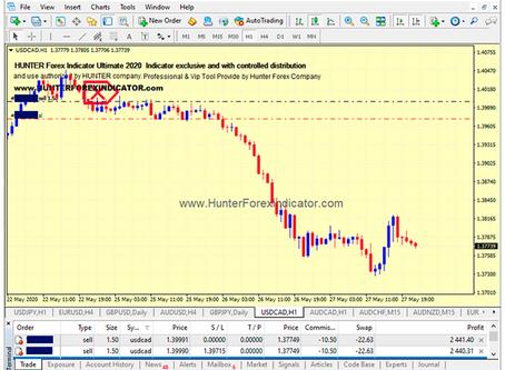 Non Repaint Hunter Indicator USDCAD Trade