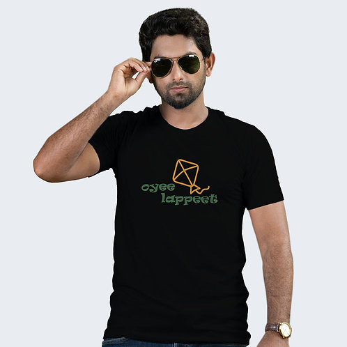 Hinglish Oyee Lappeet Round Neck T-Shirt -Black