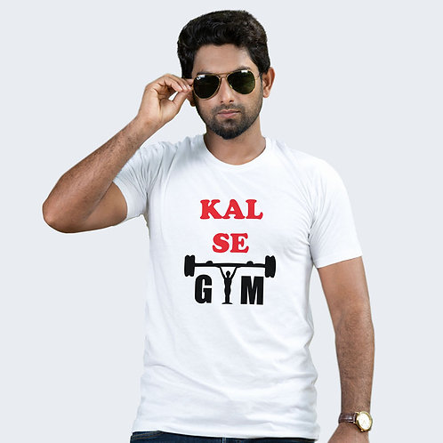 Hinglish Kal Se Gym Round Neck T-Shirt -WHITE
