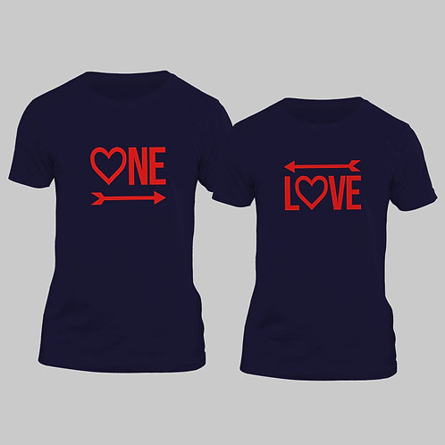 Hinglish Valentine Day One Love Couple T-shirt