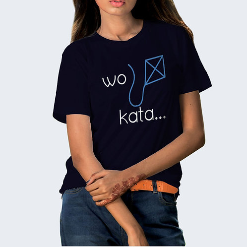 Hinglish Wo Kata Round Neck T-Shirt - Navy Blue