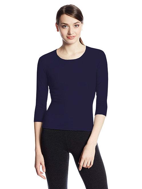 Hinglish WOMEN'S 3/4 SLEEVE SCOOP NECK T-Shirt - NAVY BLUE
