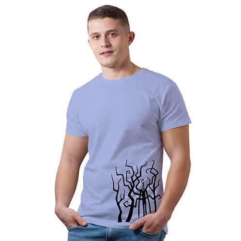 Hinglish Men's Printed Round Neck T-Shirt - Sky Blue