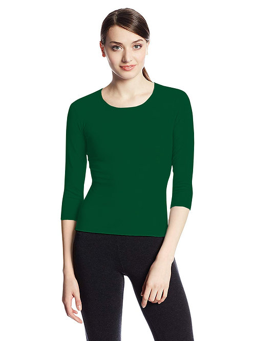 Hinglish WOMEN'S 3/4 SLEEVE SCOOP NECK T-Shirt - FOREST GREEN