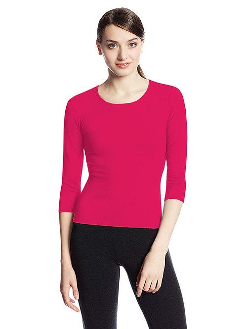 Hinglish WOMEN'S 3/4 SLEEVE SCOOP NECK T-Shirt - FUCHSIA