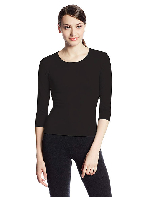 Hinglish WOMEN'S 3/4 SLEEVE SCOOP NECK T-Shirt - Black