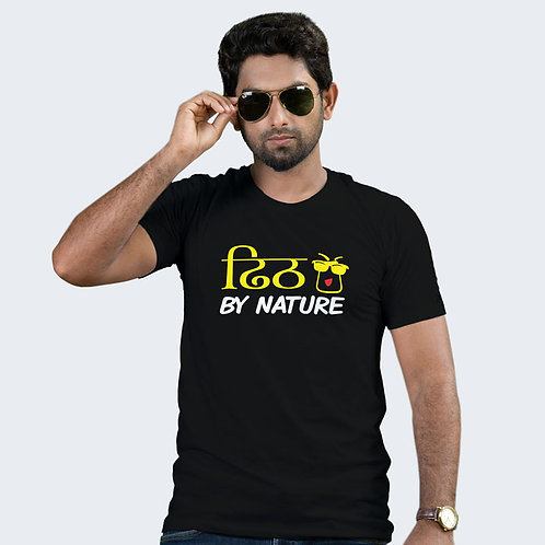 Hinglish Dheet By Nature Round Neck T-Shirt-Black