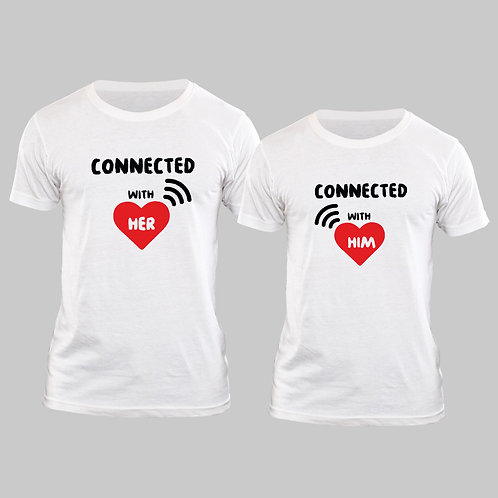 Hinglish Valentine Day Connected Couple T-shirt