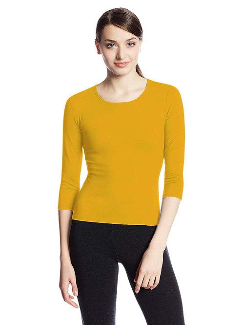Hinglish WOMEN'S 3/4 SLEEVE SCOOP NECK T-Shirt - MUSTARD YELLOW