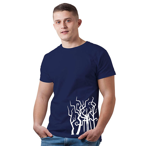 Hinglish Men's Printed  Round Neck T-Shirt - Navy Blue