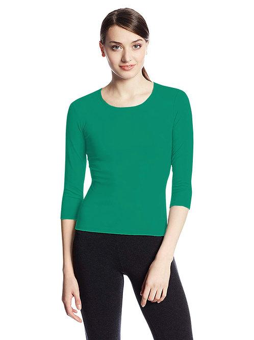 Hinglish WOMEN'S 3/4 SLEEVE SCOOP NECK T-Shirt - SEA GREEN