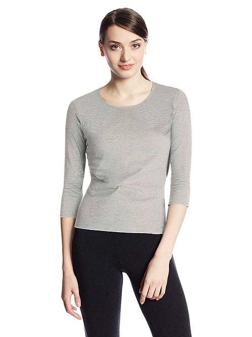 Hinglish WOMEN'S 3/4 SLEEVE SCOOP NECK T-Shirt - GREY MELANGE