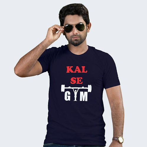 Hinglish Kal Se Gym Round Neck T-Shirt - Navy Blue