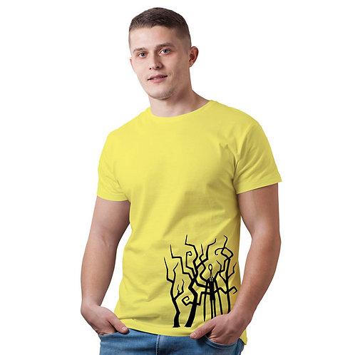 Hinglish Men's Printed Round Neck T-Shirt - Lemon Yellow