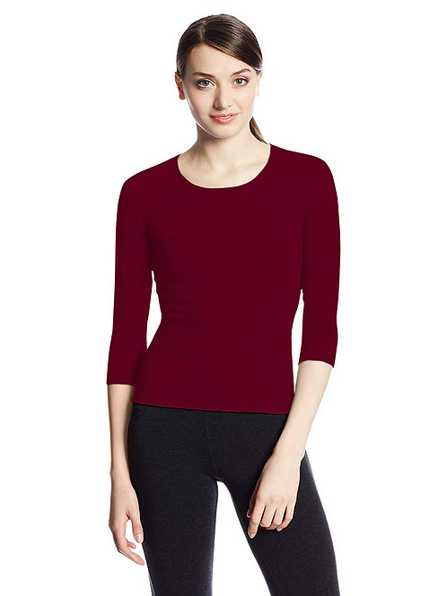 Hinglish WOMEN'S 3/4 SLEEVE SCOOP NECK T-Shirt - BURGUNDY
