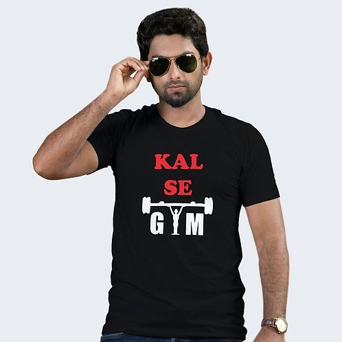Hinglish Kal Se Gym Round Neck T-Shirt - Black