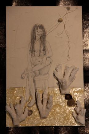 Pesada ligereza 50x40 grafito y collage