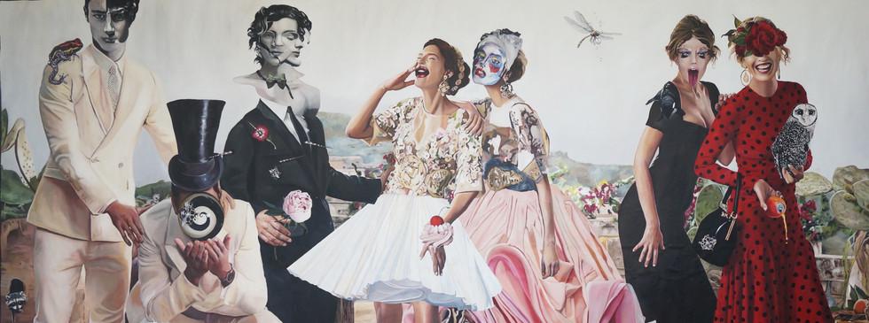 """""""Deshojando fantasías""""  oil on canvas 280 x 150 2016"""
