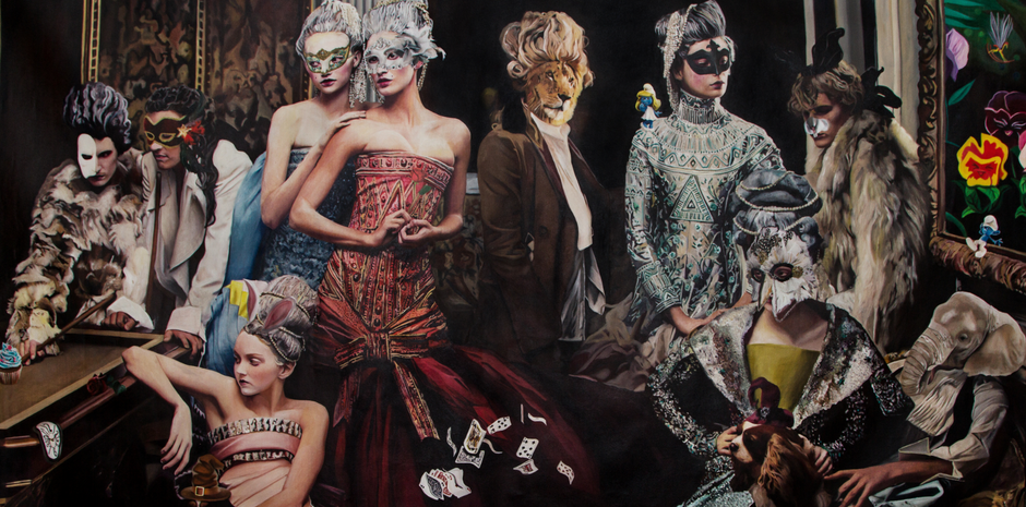 """Private Party"" , de esta serie ""Once upon a time"", óleo sobre tela, 140 x 210, 2014"