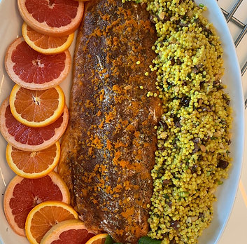 True Taste Virtual Cooking Class MORROCAN RUB HALF SALMON ISRAELI COUSCOUS