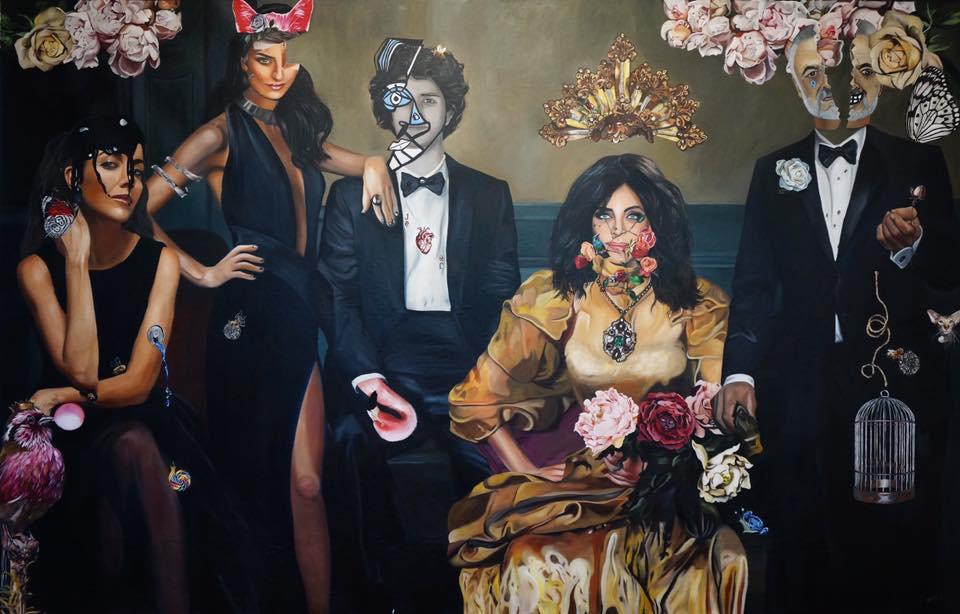 """La Casa de las Flores"""" Para NETFLIX  Retrato de una Familia NOrmal. 190 x 3 mts , oil on canvas,2017"""